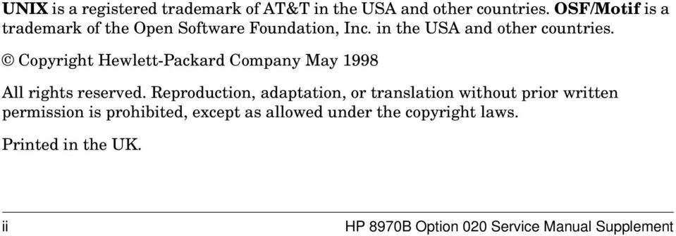 Copyright Hewlett-Packard Company May 1998 All rights reserved.