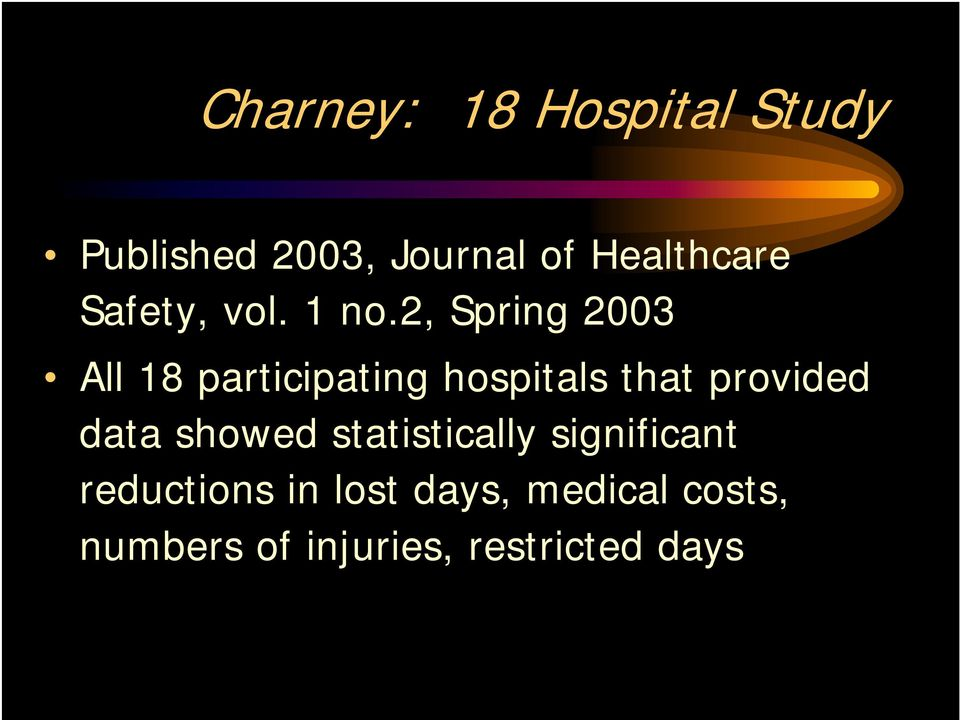2, Spring 2003 All 18 participating hospitals that provided data