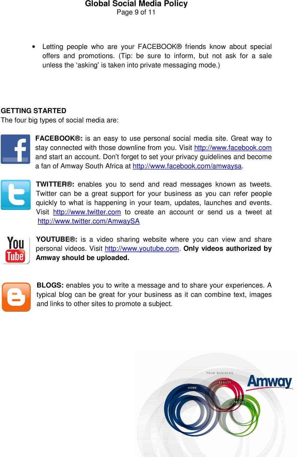 ) GETTING STARTED The four big types of social media are: FACEBOOK : is an easy to use personal social media site. Great way to stay connected with those downline from you. Visit http://www.facebook.