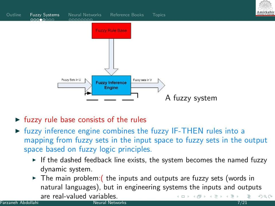 If the dashed feedback line exists, the system becomes the named fuzzy dynamic system.
