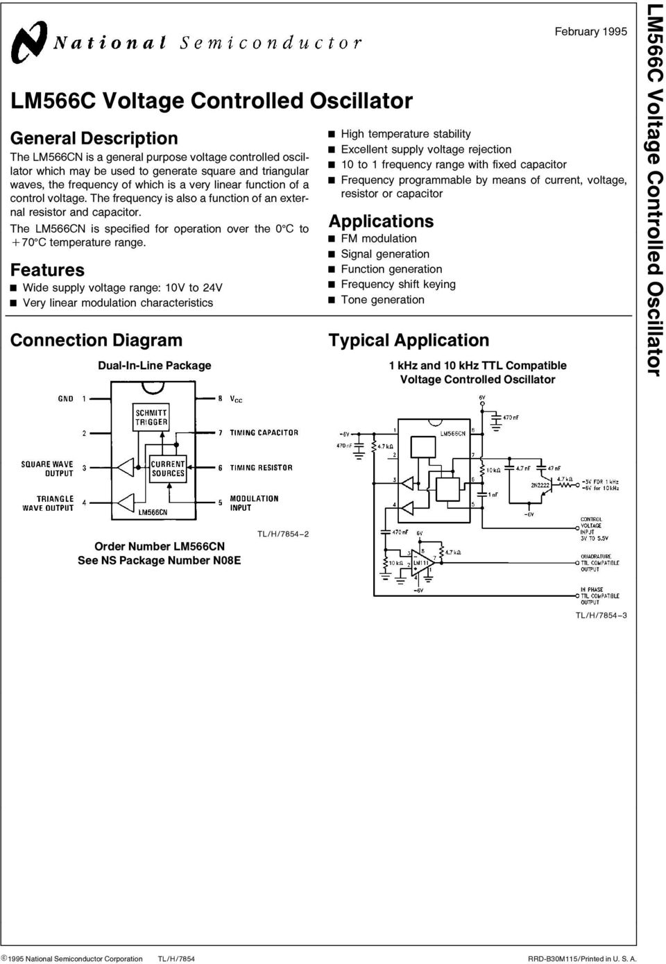 range Features Wide supply voltage range 10V to 24V Very linear modulation characteristics Connection Diagram Dual-In-Line Package February 1995 High temperature stability Excellent supply voltage