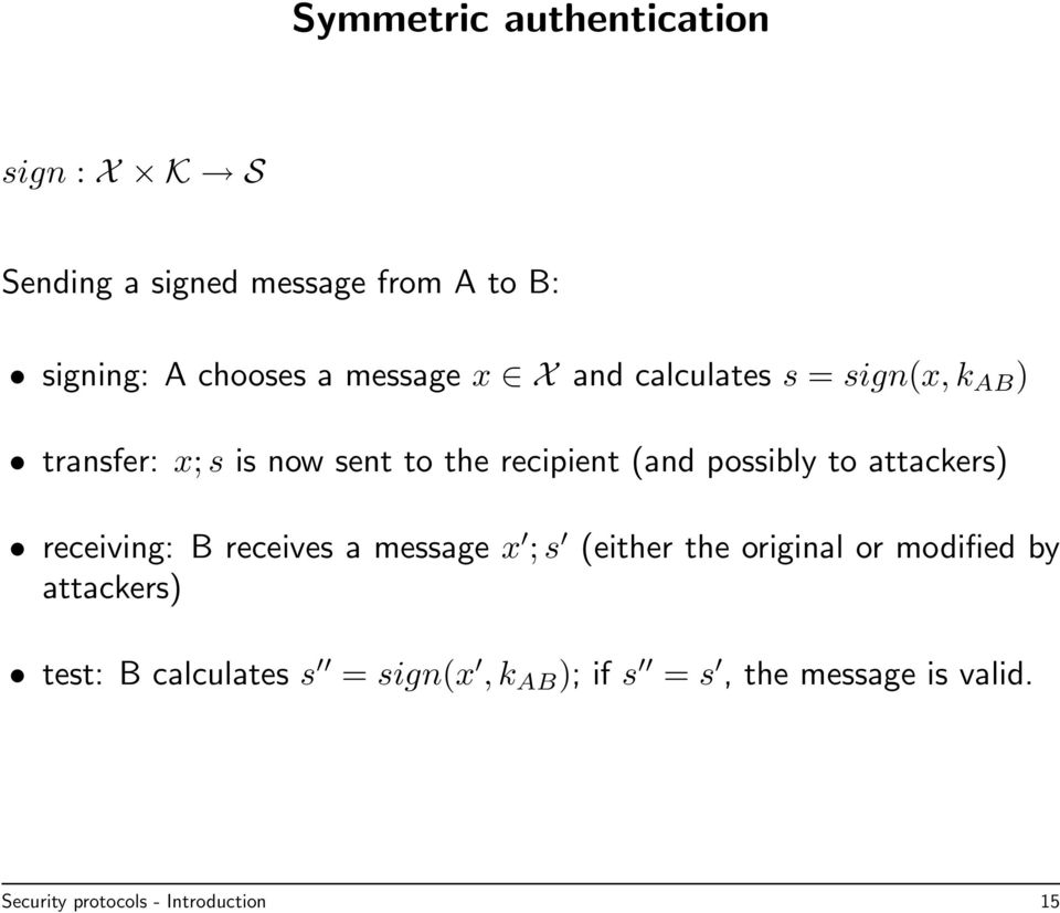 possibly to attackers) receiving: B receives a message x ; s (either the original or modified by
