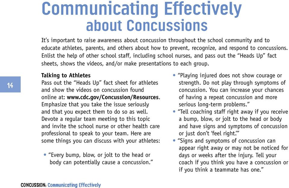 14 Talking to Athletes Pass out the Heads Up fact sheet for athletes and show the videos on concussion found online at: www.cdc.gov/concussion/resources.