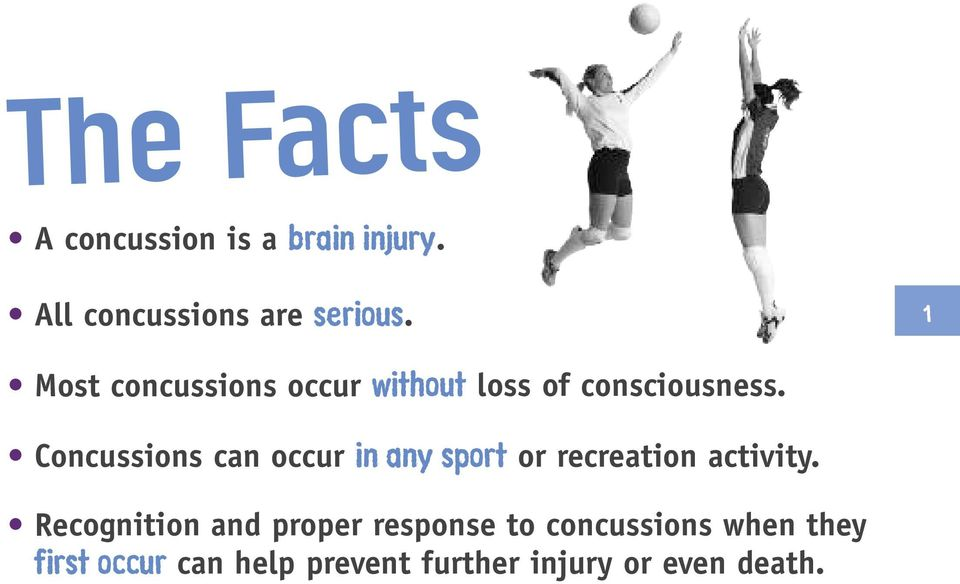 Concussions can occur in any sport or recreation activity.