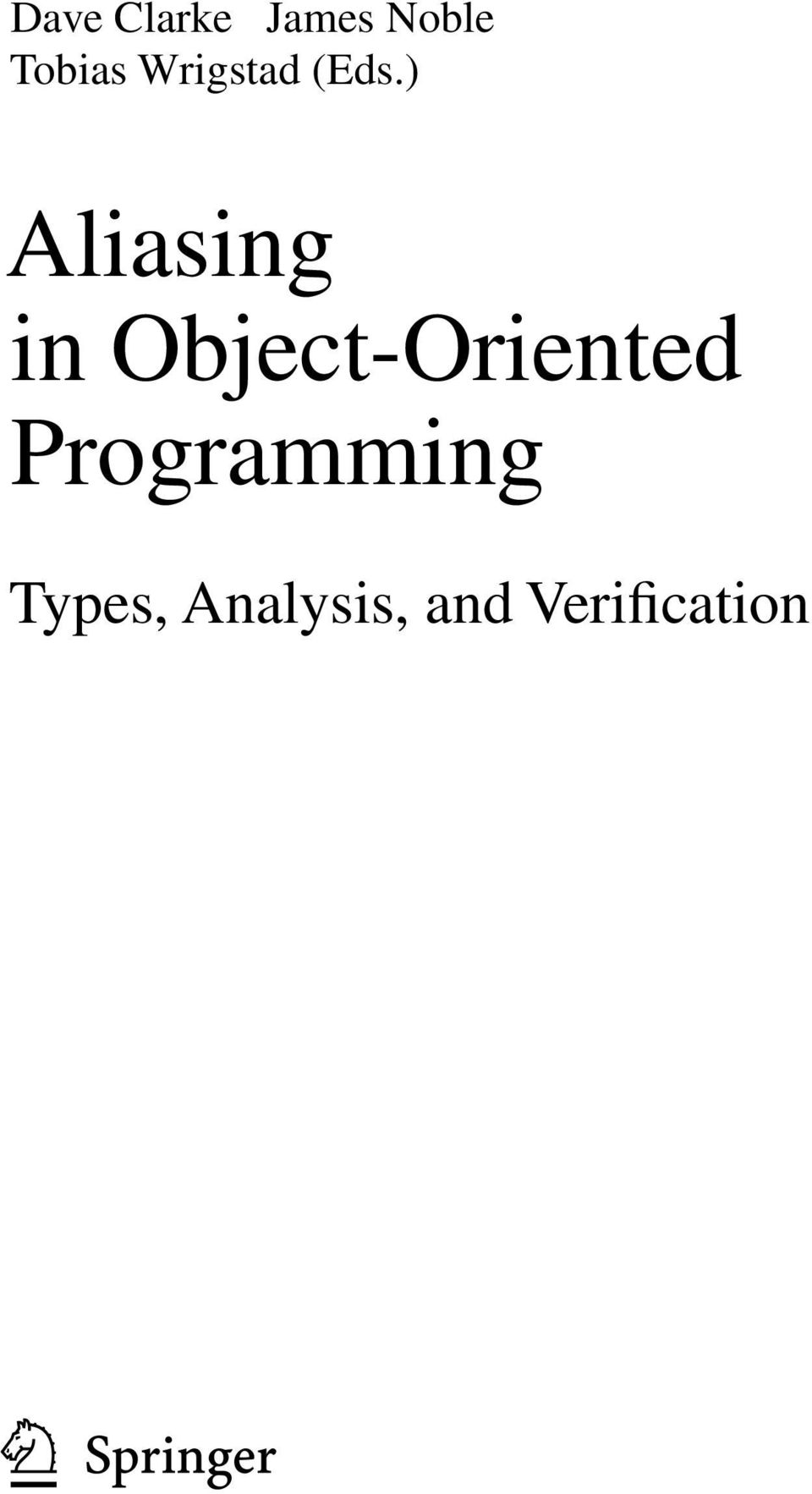) Aliasing in Object-Oriented