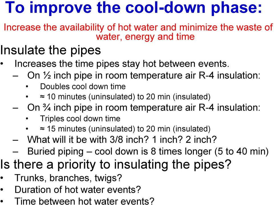 On ½ inch pipe in room temperature air R-4 insulation: Doubles cool down time 10 minutes (uninsulated) to 20 min (insulated) On ¾ inch pipe in room temperature air R-4
