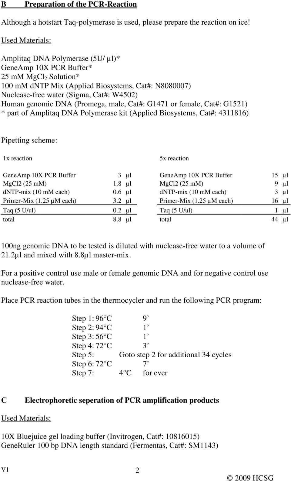 genomic DNA (Promega, male, Cat#: G1471 or female, Cat#: G1521) * part of Amplitaq DNA Polymerase kit (Applied Biosystems, Cat#: 4311816) Pipetting scheme: 1x reaction 5x reaction GeneAmp 10X PCR