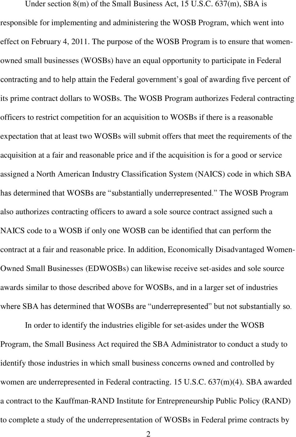 of awarding five percent of its prime contract dollars to WOSBs.