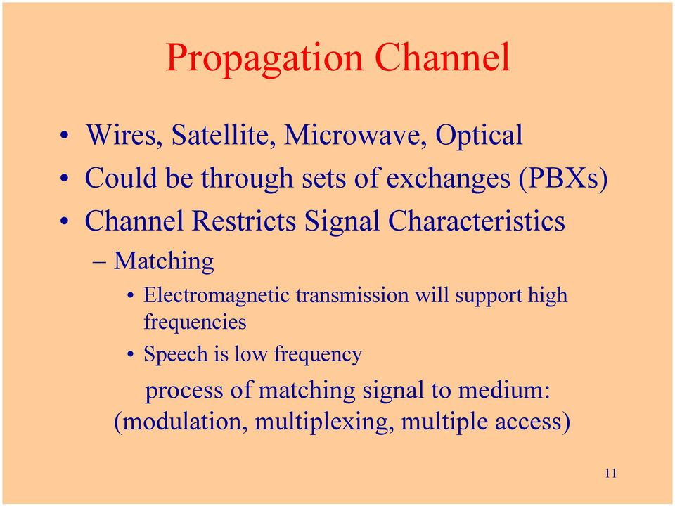 Electromagnetic transmission will support high frequencies Speech is low