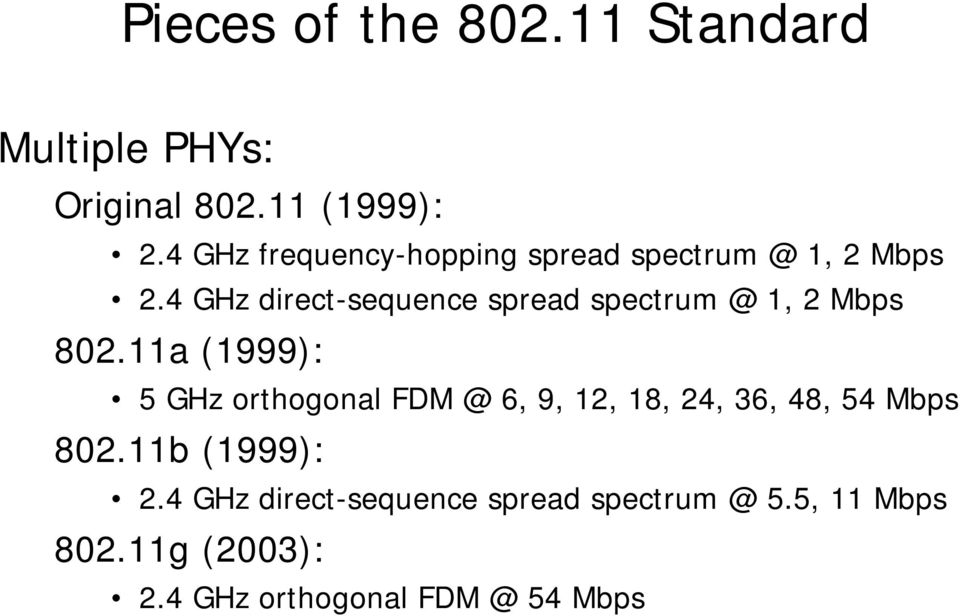 4 GHz direct-sequence spread spectrum @ 1, 2 Mbps 802.