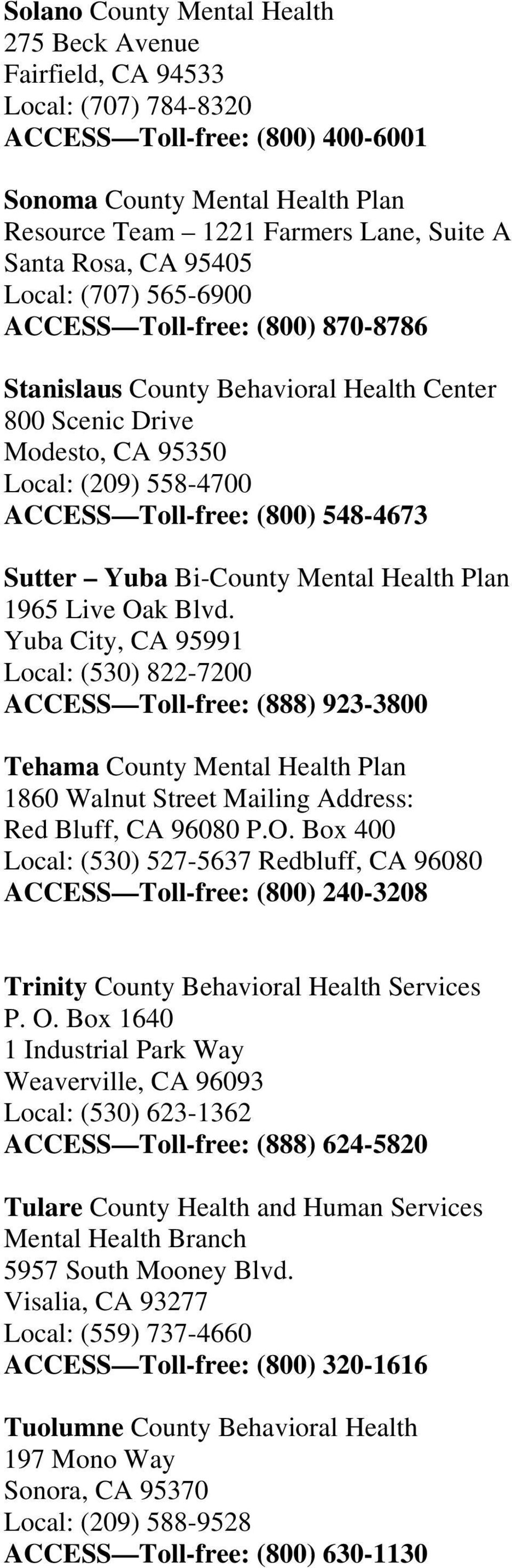 548-4673 Sutter Yuba Bi-County Mental Health Plan 1965 Live Oak Blvd.