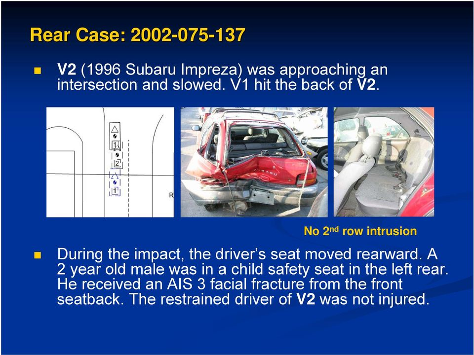 No 2 nd row intrusion During the impact, the driver s seat moved rearward.