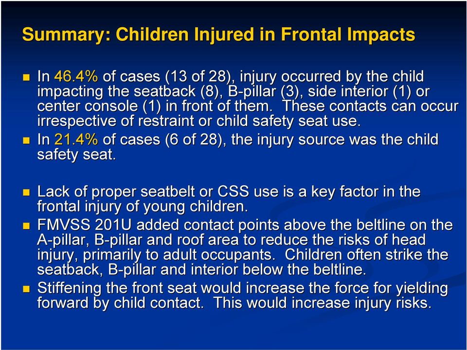 These contacts can occur irrespective of restraint or child safety seat use. In 21.4% of cases (6 of 28), the injury source was the child safety seat.