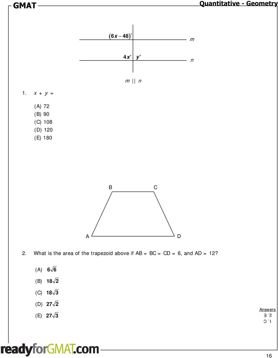What is the area of the trapezoid above if AB