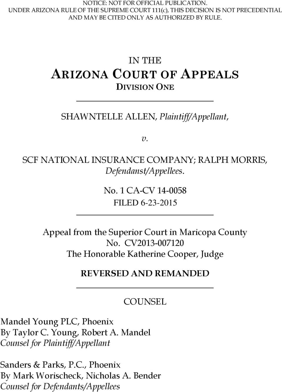 1 CA-CV 14-0058 Appeal from the Superior Court in Maricopa County No.