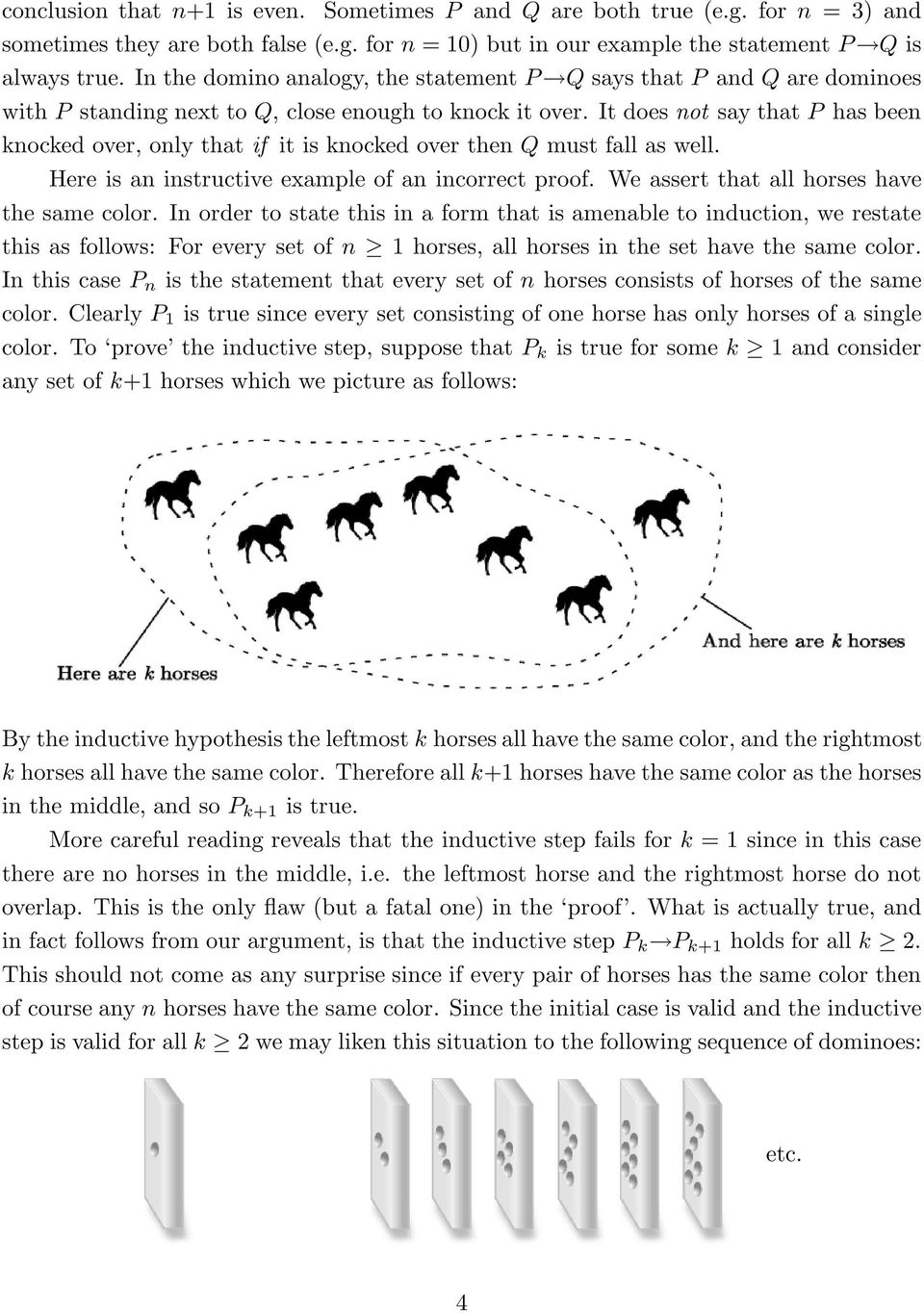 fall as well Here is an instructive example of an incorrect proof We assert that all horses have the same color In order to state this in a form that is amenable to induction, we restate this as