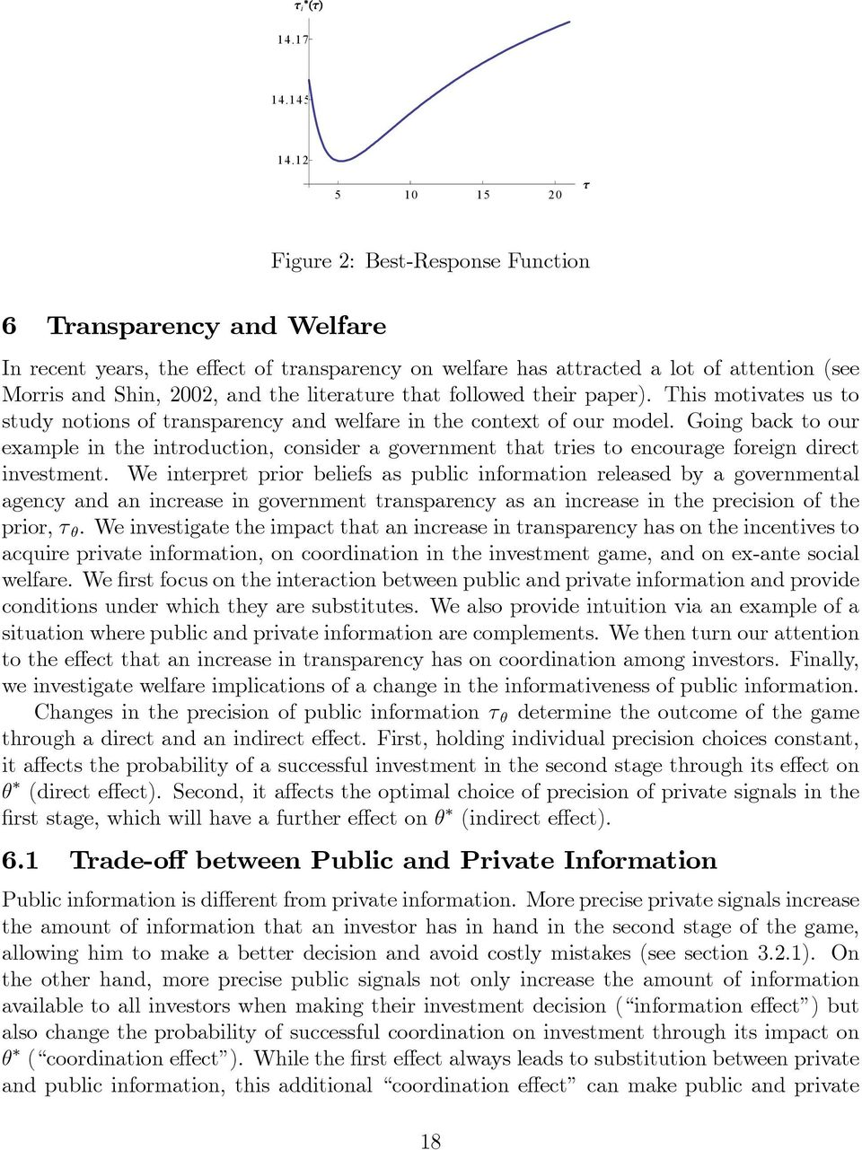 followed ther paper). Ths motvates us to study notons of transparency and welfare n the context of our model.