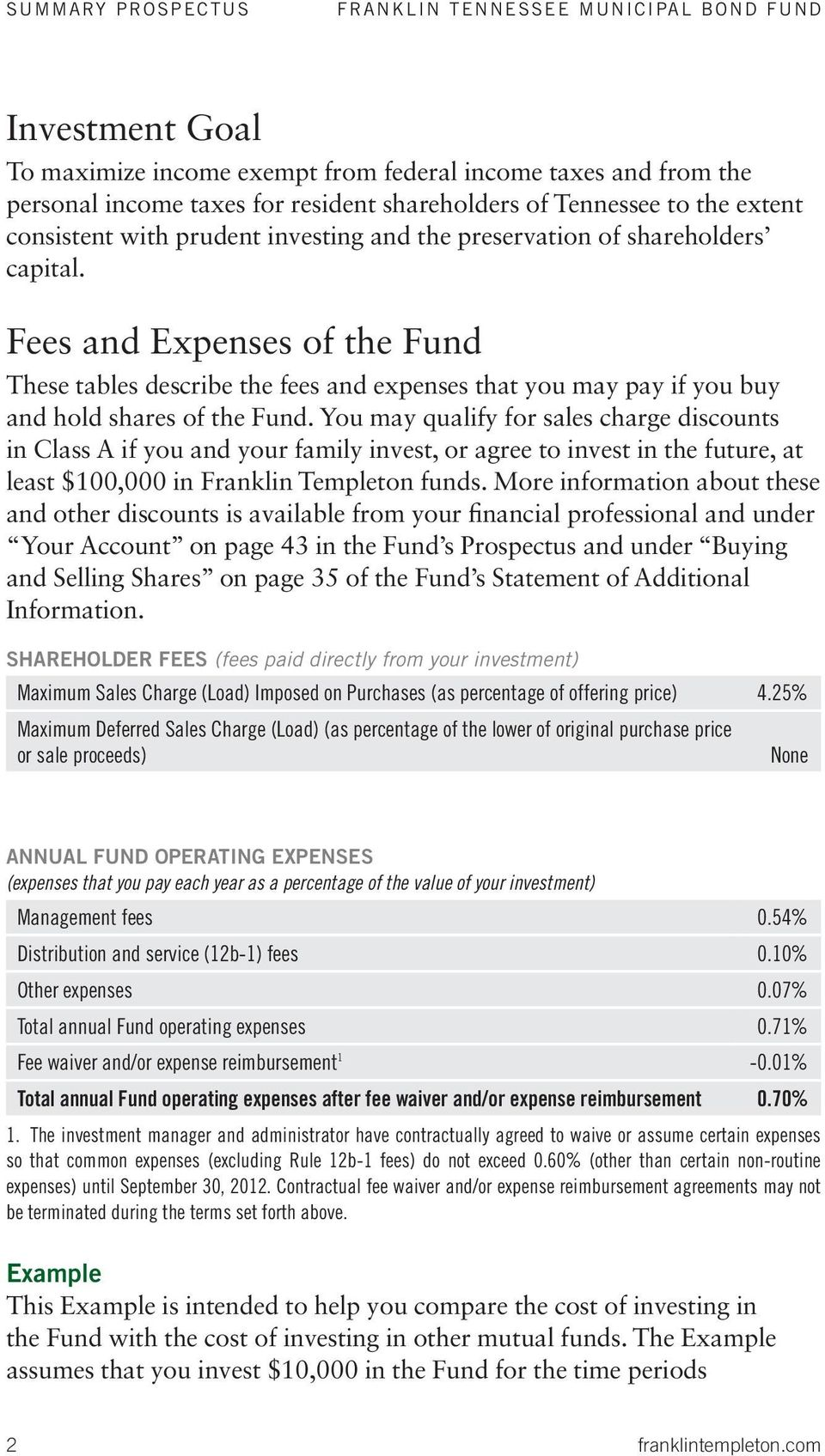 Fees and Expenses of the Fund These tables describe the fees and expenses that you may pay if you buy and hold shares of the Fund.