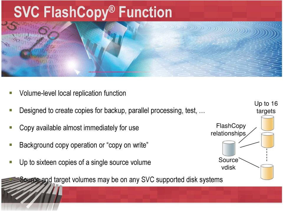 Background copy operation or copy on write FlashCopy relationships Up to sixteen copies of a