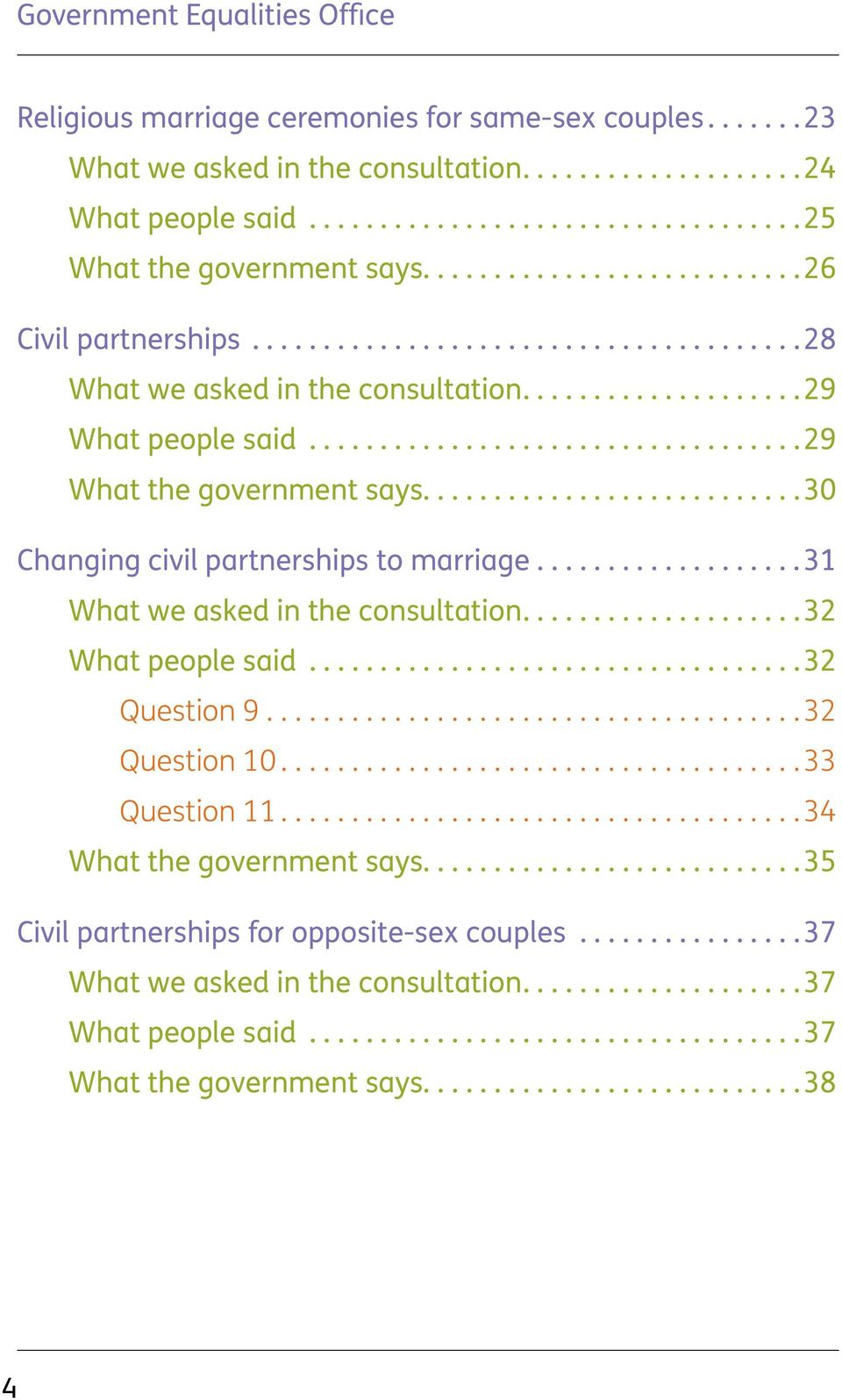 ......................... 30 Changing civil partnerships to marriage...................31 What we asked in the consultation................... 32 What people said.................................. 32 Question 9.