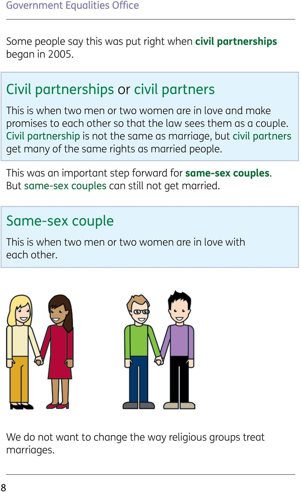 Civil partnership is not the same as marriage, but civil partners get many of the same rights as married people.