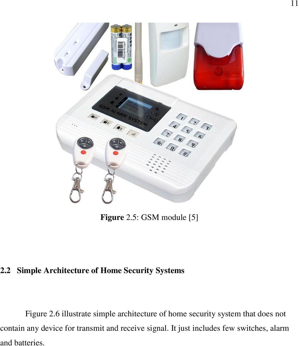 6 illustrate simple architecture of home security system that