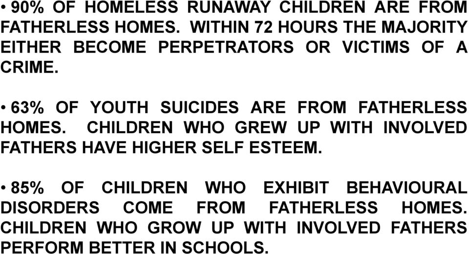 63% OF YOUTH SUICIDES ARE FROM FATHERLESS HOMES.