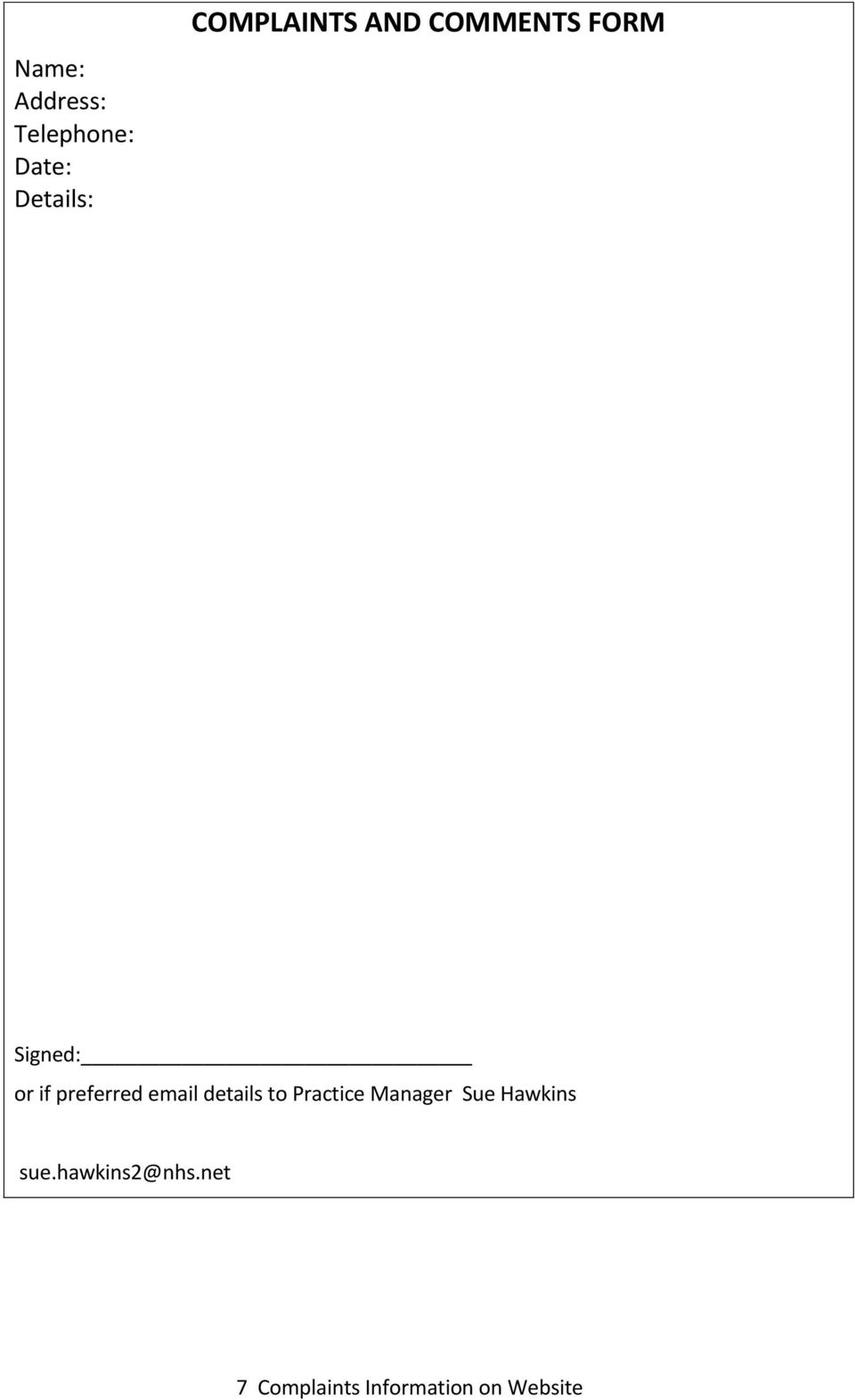 preferred email details to Practice Manager Sue