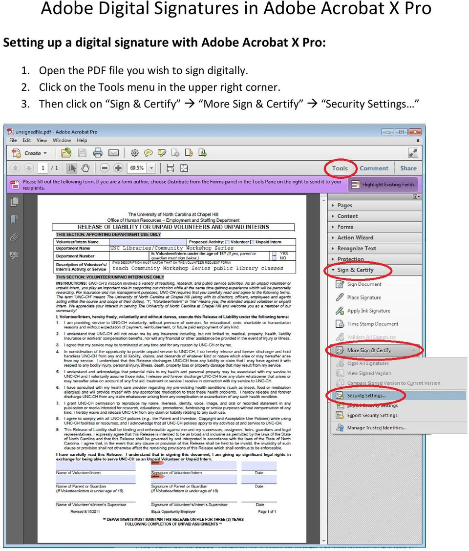 Open the PDF file you wish to sign digitally. 2.