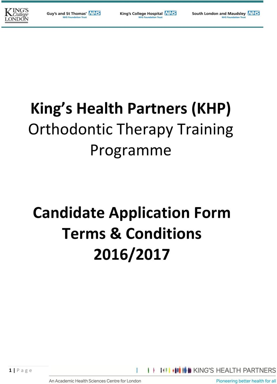 Programme Candidate Application