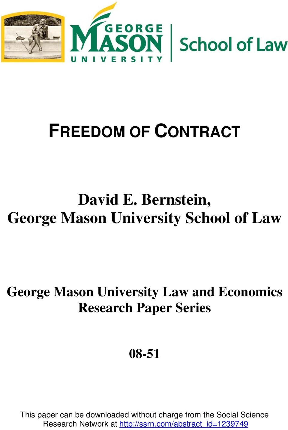 University Law and Economics Research Paper Series 08-51 This paper