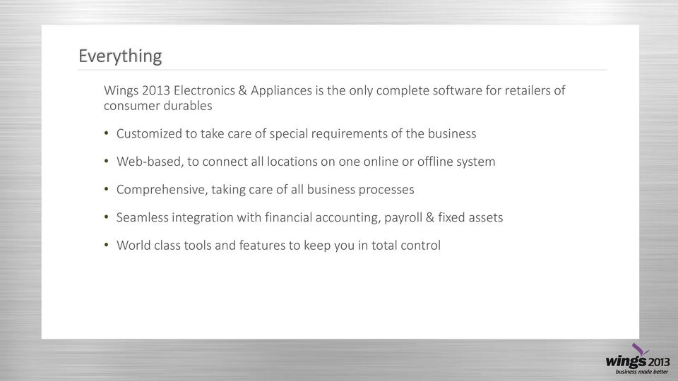 locations on one online or offline system Comprehensive, taking care of all business processes Seamless
