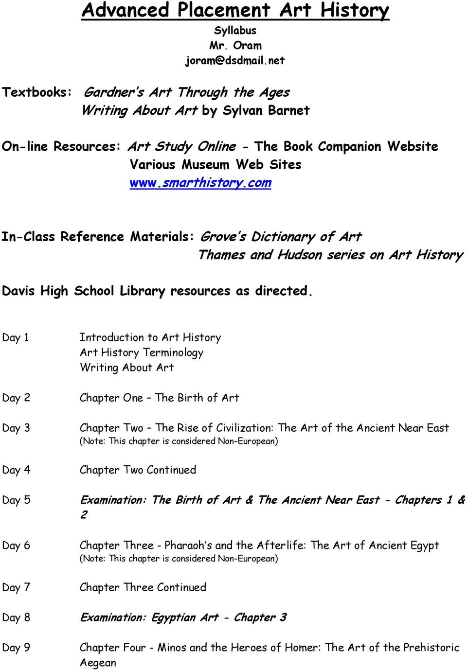 com In-Class Reference Materials: Grove s Dictionary of Art Thames and Hudson series on Art History Davis High School Library resources as directed.