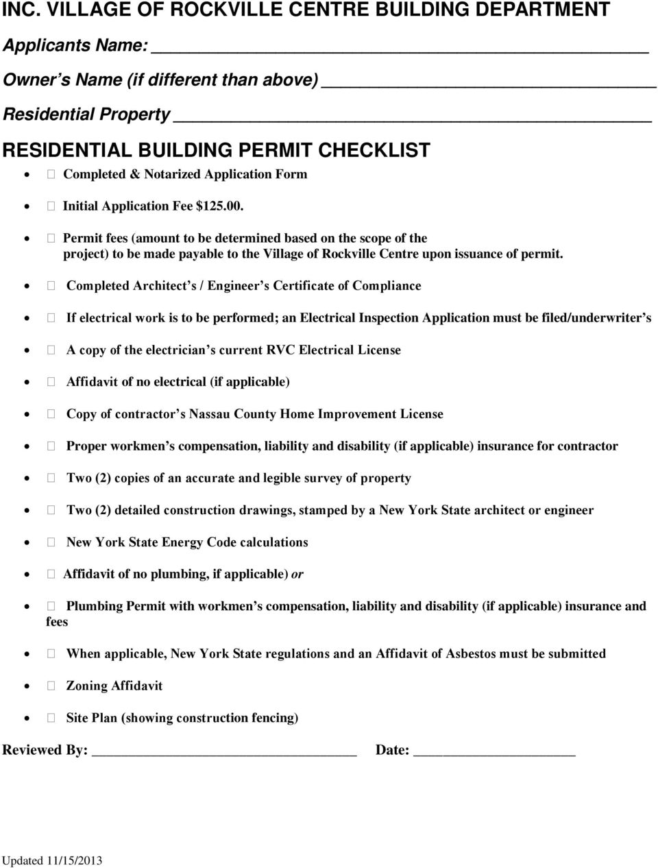 Inc Village Of Rockville Centre Building Department Pdf