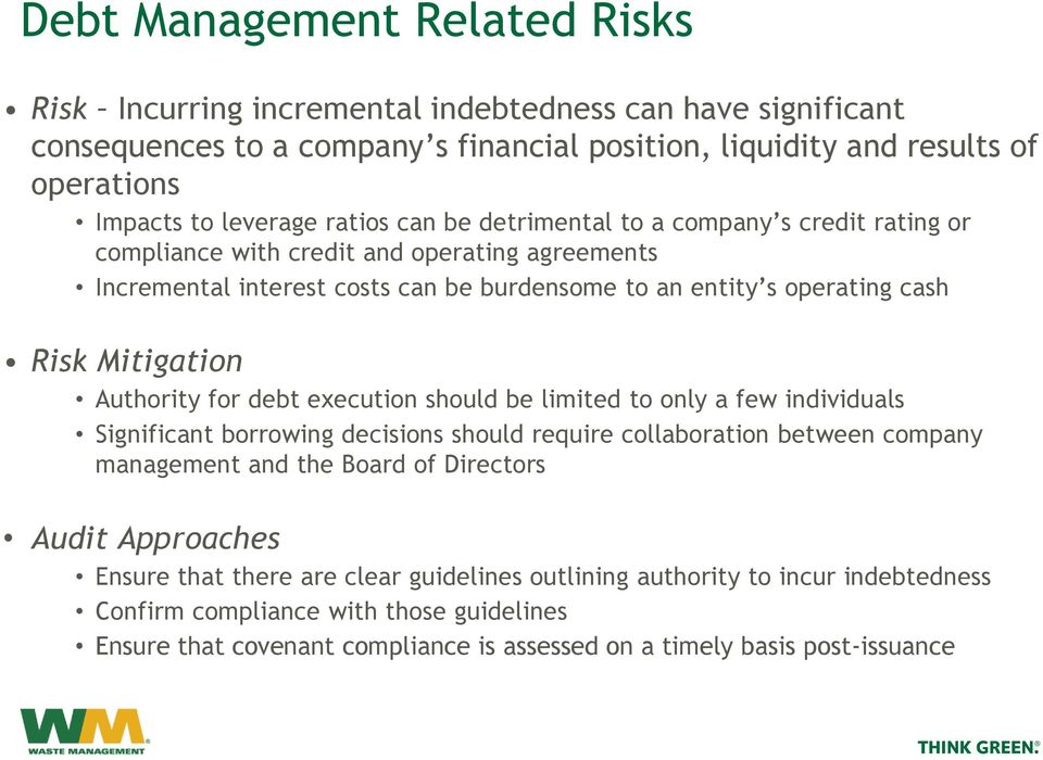 Authority for debt execution should be limited to only a few individuals Significant borrowing decisions should require collaboration between company management and the Board of Directors Audit