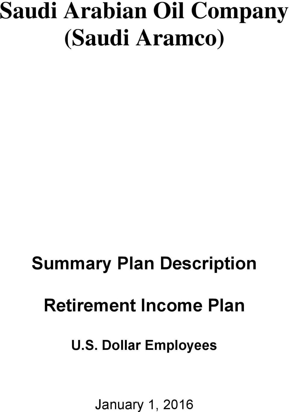 Description Retirement Income