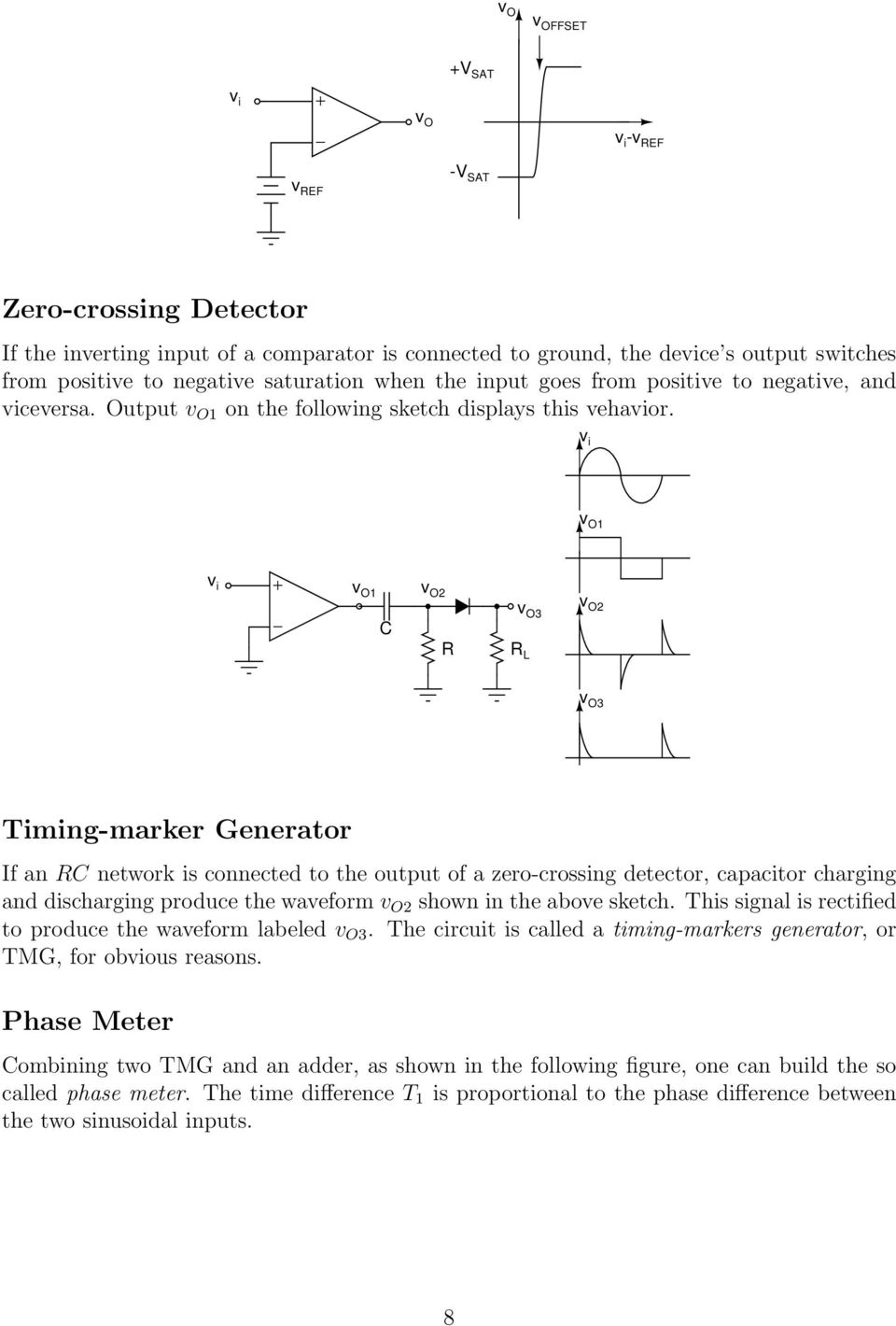 v O v O2 R v i v O v O2 v O3 R L v O3 Timing-marker Generator If an R network is connected to the output of a zero-crossing detector, capacitor charging and discharging produce the waveform v O2