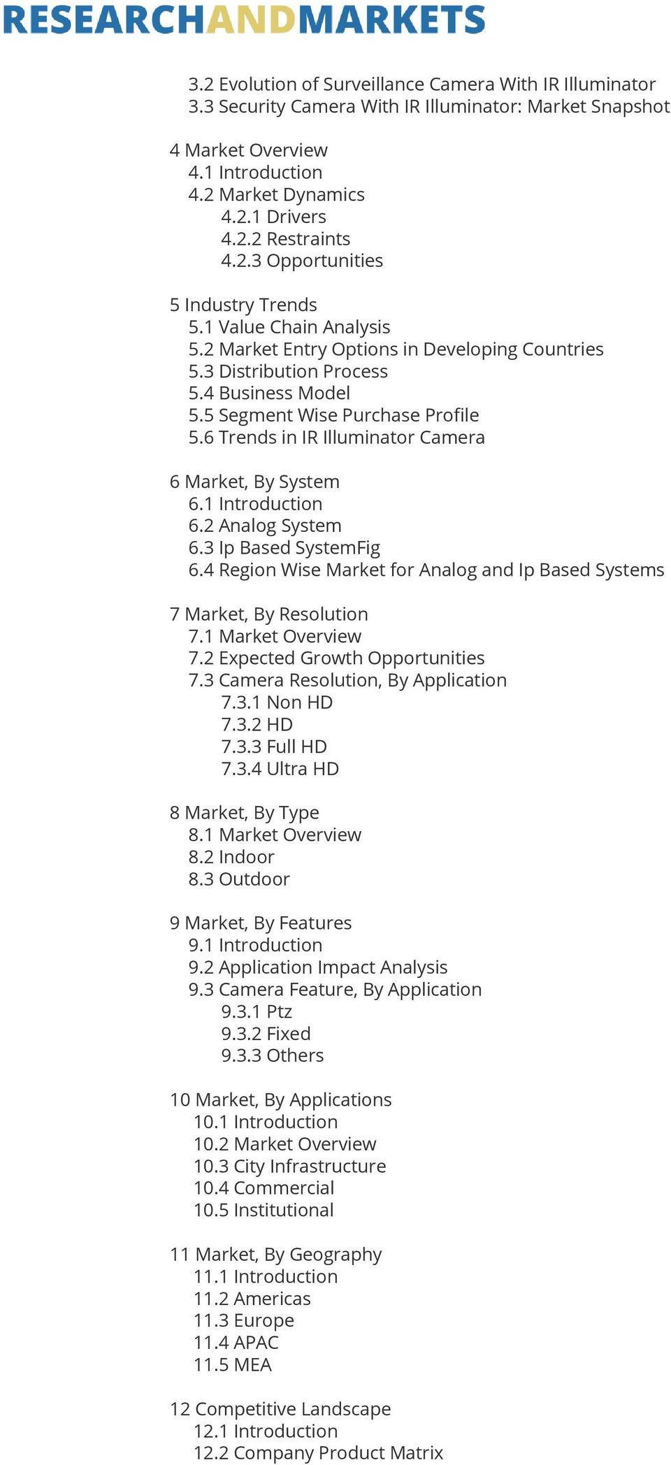 6 Trends in IR Illuminator Camera 6 Market, By System 6.1 Introduction 6.2 Analog System 6.3 Ip Based SystemFig 6.4 Region Wise Market for Analog and Ip Based Systems 7 Market, By Resolution 7.