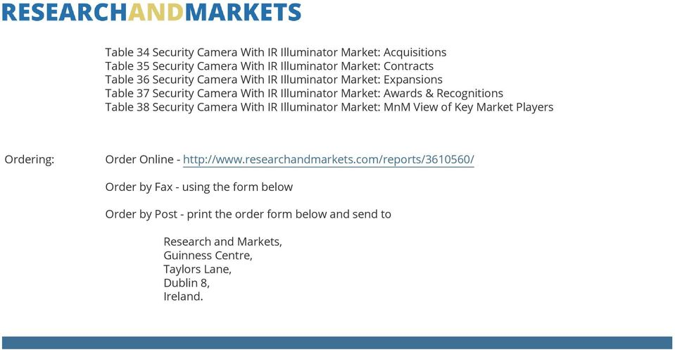 With IR Illuminator Market: MnM View of Key Market Players Ordering: Order Online - http://www.researchandmarkets.