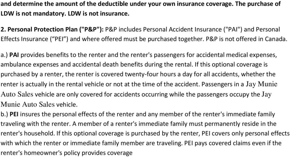 d Personal Effects Insurance ( PEI ) an