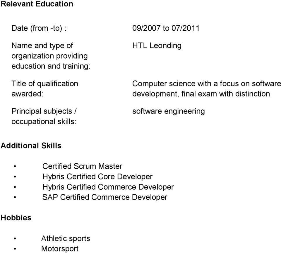 software development, final exam with distinction software engineering Additional Skills Certified Scrum Master Hybris