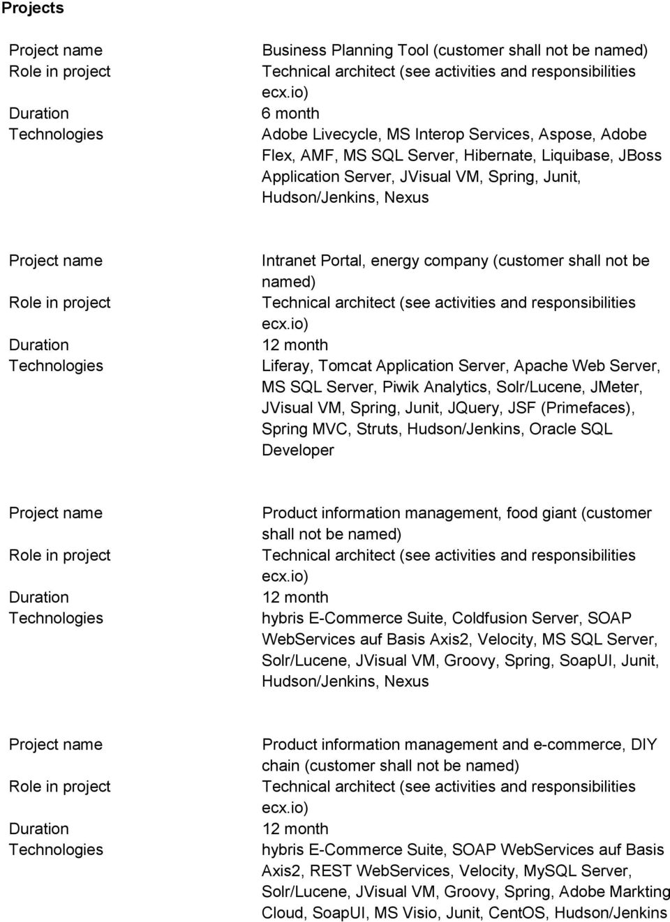 Portal, energy company (customer shall not be named) Technical architect (see activities and responsibilities ecx.