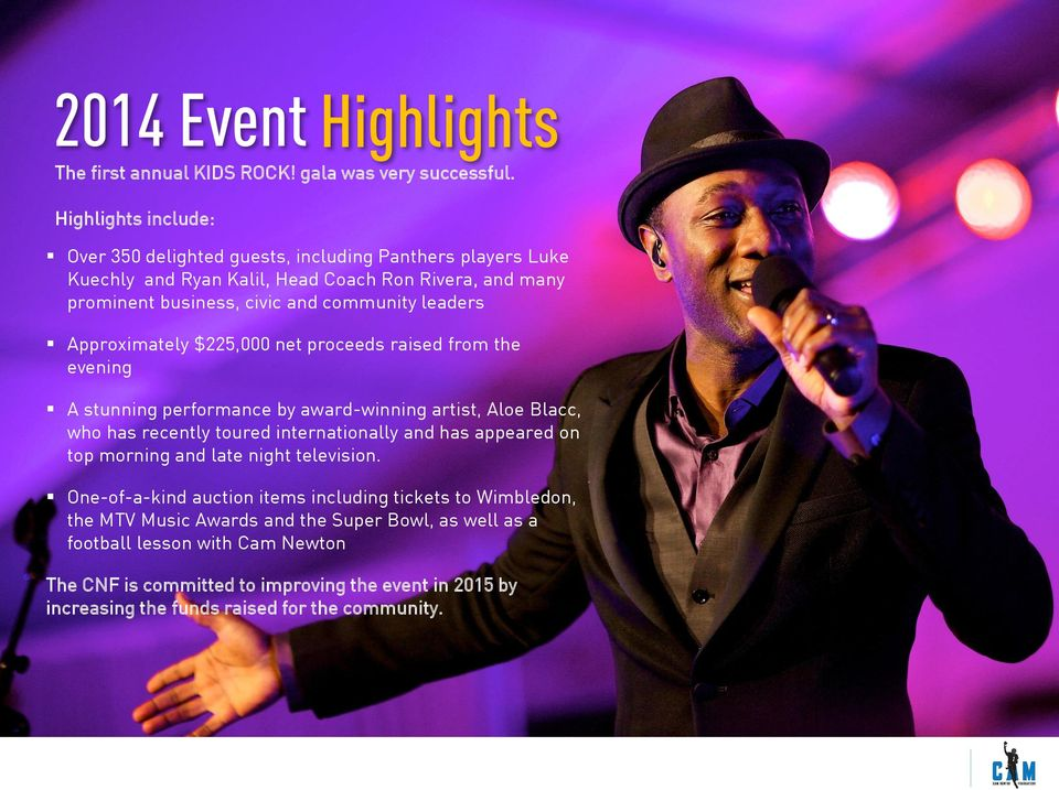 $225,000 net proceeds raised from the evening A stunning performance by award-winning artist, Aloe Blacc, who has recently toured internationally and has appeared on top morning and The late Levine