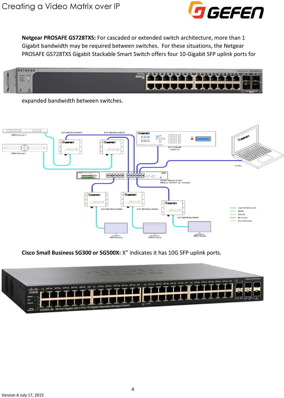For these situations, the Netgear PROSAFE GS728TXS Gigabit Stackable Smart Switch offers four