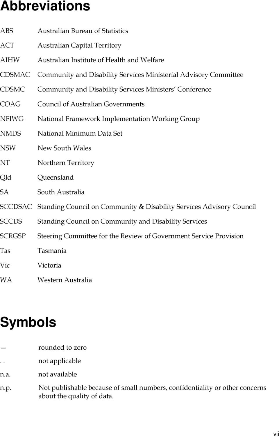 Set New South Wales Northern Territory Queensland South Australia SCCDSAC Standing Council on Community & Disability Services Advisory Council SCCDS SCRGSP Tas Vic WA Standing Council on Community