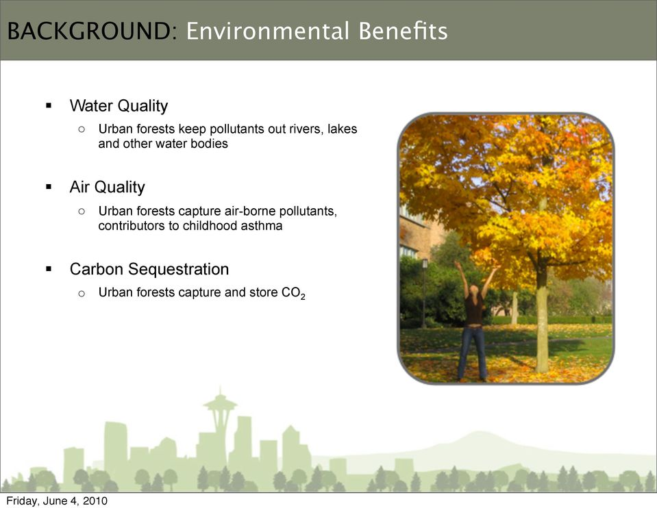 Quality o Urban forests capture air-borne pollutants, contributors