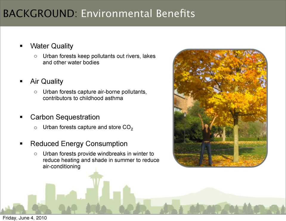 asthma Carbon Sequestration o Urban forests capture and store CO 2 Reduced Energy Consumption o Urban