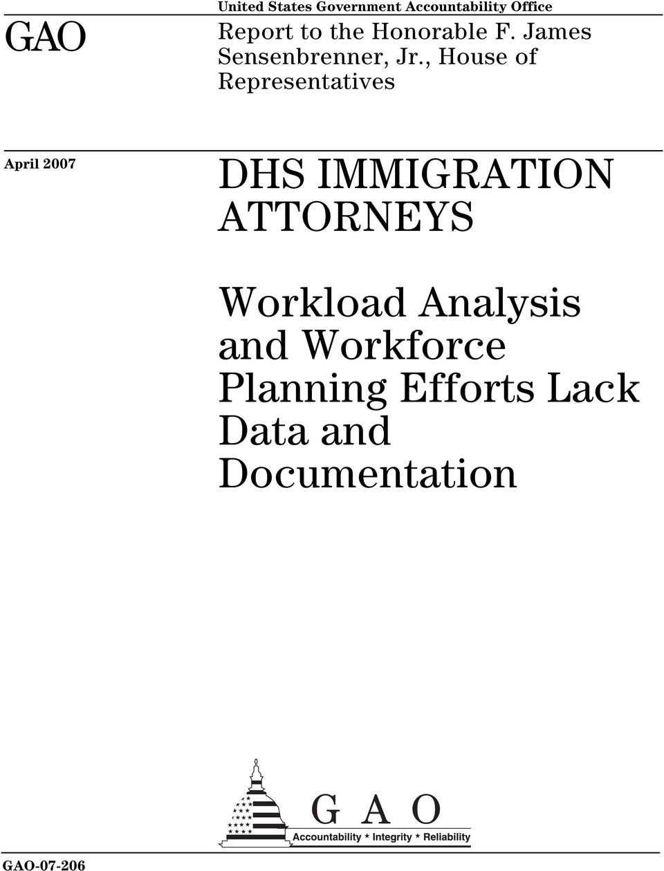 , House of Representatives April 2007 DHS IMMIGRATION ATTORNEYS