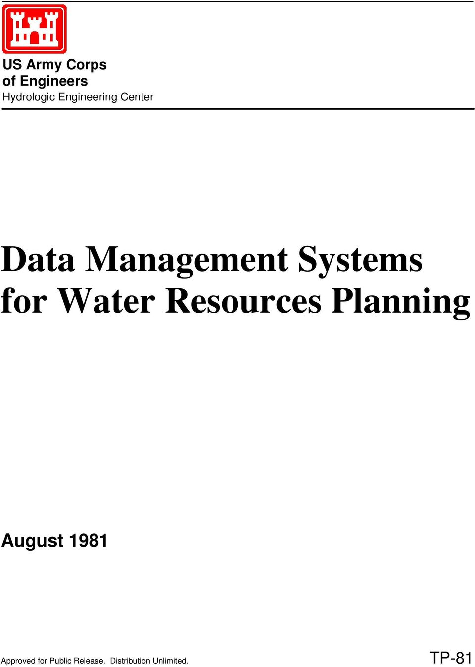 for Water Resources Planning August 1981