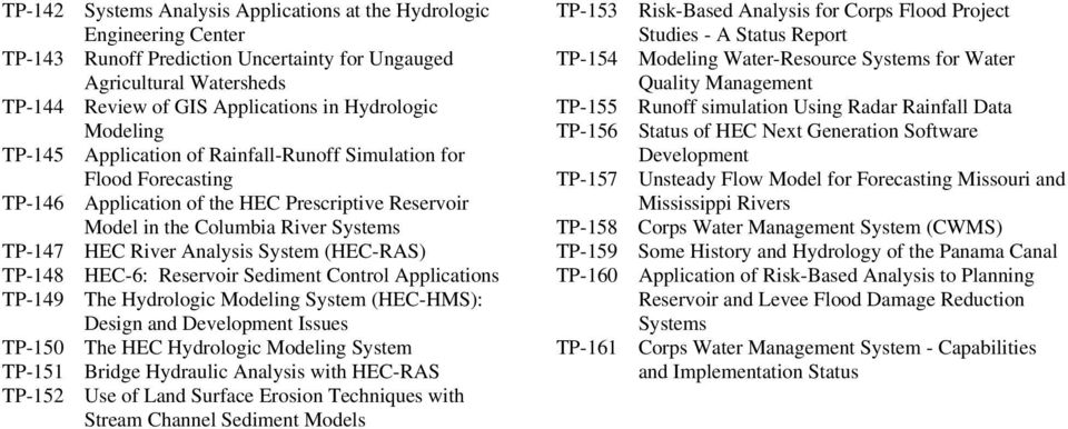 System (HEC-RAS) TP-148 HEC-6: Reservoir Sediment Control Applications TP-149 The Hydrologic Modeling System (HEC-HMS): Design and Development Issues TP-150 The HEC Hydrologic Modeling System TP-151